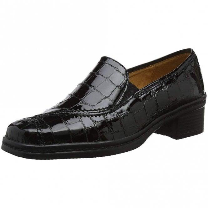 Gabor Frith 96.026.97 Black Croc Patent Shoe