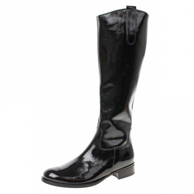 Gabor Brook S 91.648.97 Black Crinkle Patent Boot