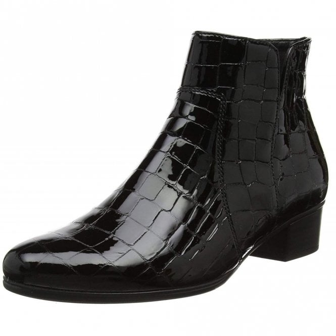 Gabor Delaware 95.600.97 Black Patent Croc Ankle Boot