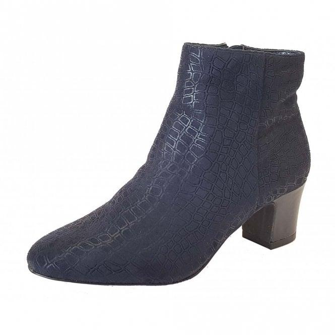Lotus Flute Navy Print Heeled Ankle-Boots