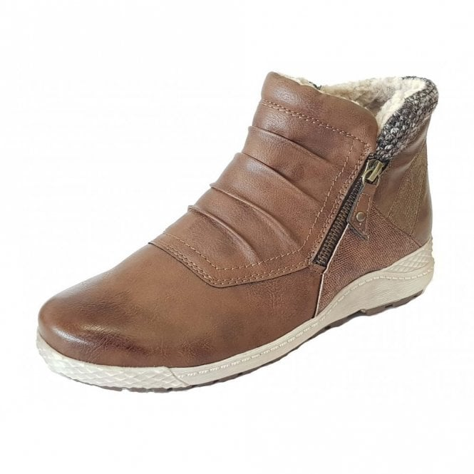 Lotus Relife Holt Tan Multi Zip-Up Ankle Boots