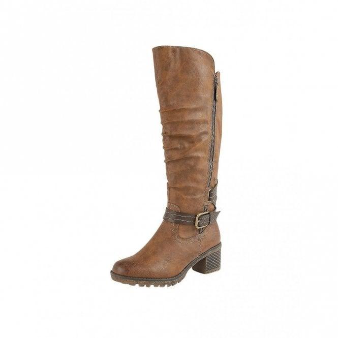 Lotus Relife Brocket Tan Multi Zip-Up Knee High Boots