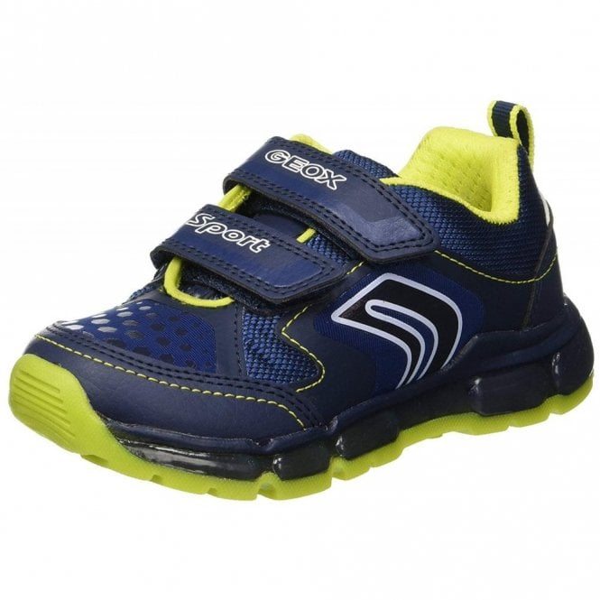 Geox J Android B Navy / Lime Boys Trainer with Flashing Lights