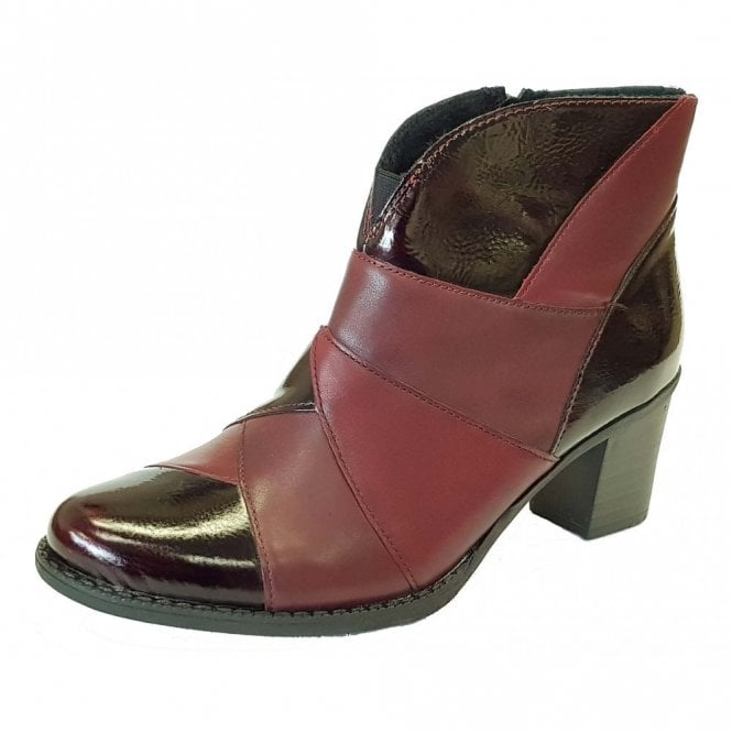 Rieker Z7676-35 Burgundy Patent / Leather Combo Ankle Boot