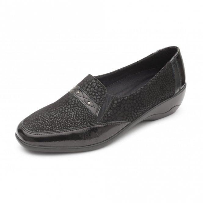 Padders Opal Black Leather Combi Slip On Shoe