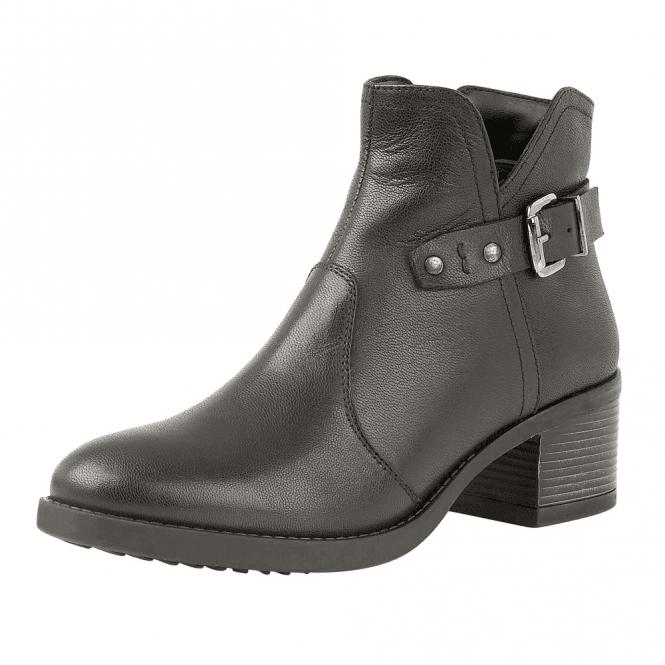 Lotus Tapti Black Leather Heeled Ankle Boots
