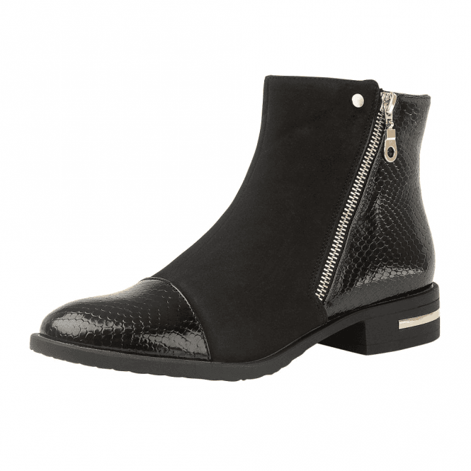 Lotus Coppice Black Snake-Print / Microfibre Ankle Boots