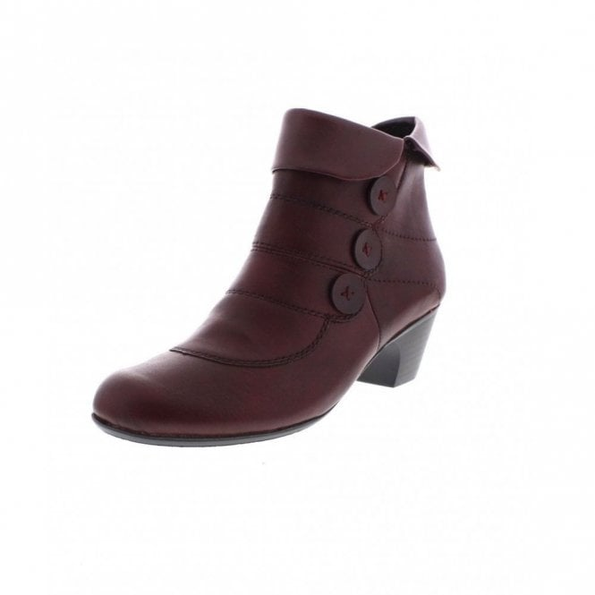 Rieker 70562-25 Burgundy Leather Slouch Ankle Boot