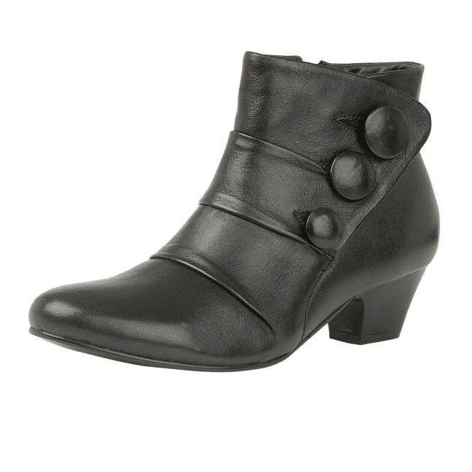 Lotus Stride Black Leather Heeled Ankle Boot
