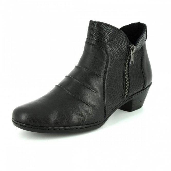 Rieker 76962-00 Black Leather / Reptile Print Ankle Boot
