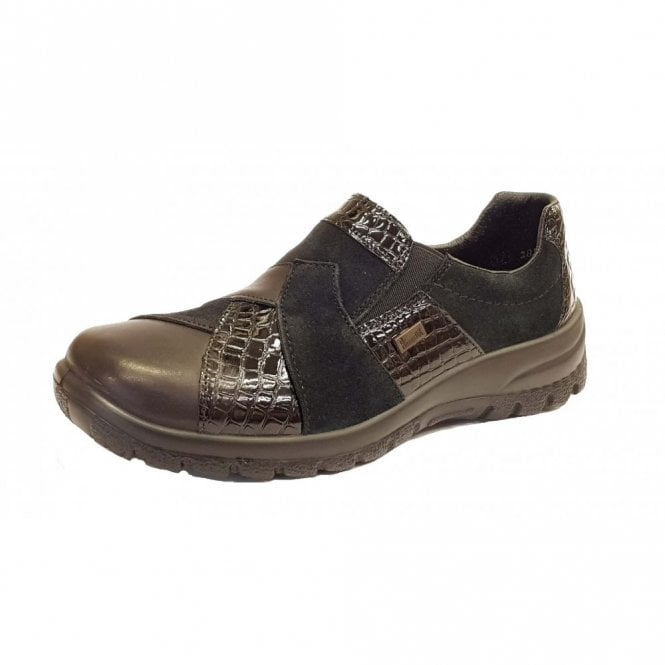 Rieker L7164-00 Black Leather / Patent Combo Water Resistant Shoe