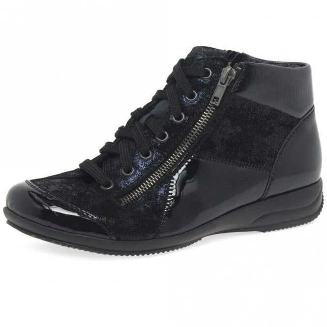 Rieker L3633-14 Dark Navy Patent / Leather Twin Zip Ankle Boot