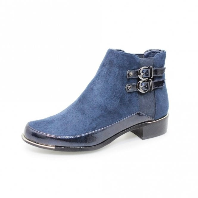 Lunar Pippa GLC688 Navy Faux Suede / Patent Ladies Ankle Boot