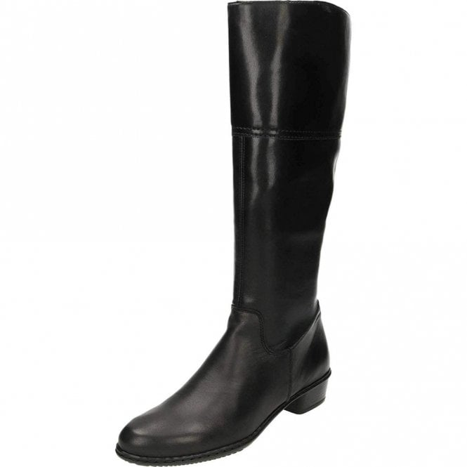 Rieker Y0748-00 Black Leather / Synthetic Riding Style Boot