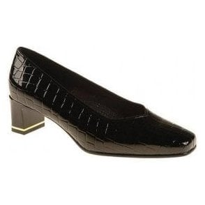 41768-07 Black Patent Croc Court Shoe