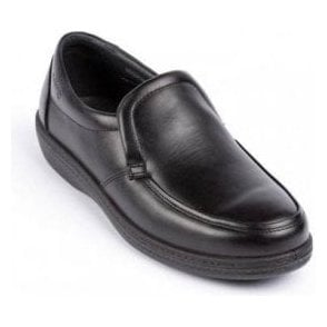 Digger Black Leather Slip On Shoe