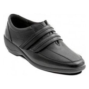 Velvet Black Leather with Patent Velcro Shoe