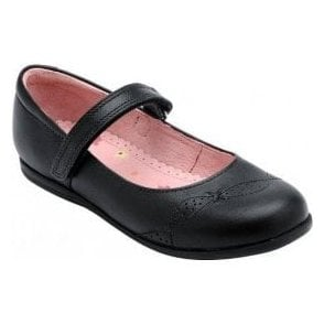 Odette Black Leather Girl's Shoe