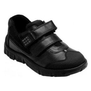 Hover Black Leather Boys Shoe