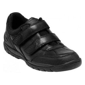 Crater Black Leather Boys Shoe