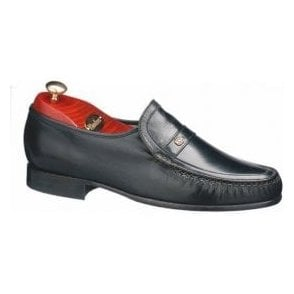 Jefferson Black Leather Moccasin Slip On Shoe