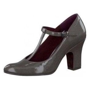 24416-29 Grey Patent T Bar Buckle Shoe