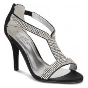 FLV238 Black Satin Sandal with Diamante