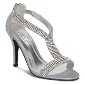 FLV238 Grey/Silver Satin Sandal with Diamante