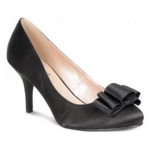 FLR122 Black Satin Court Shoe with Bow Trim