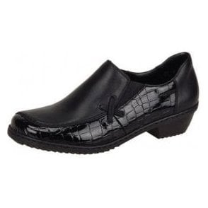 Mina M1653-00 Black Patent Croc / Leather Shoe