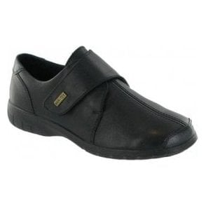 Cranham Black Leather Ladies Velcro Waterproof Shoe
