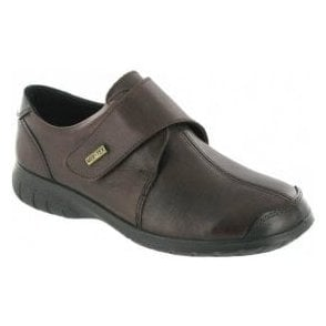 Cranham Brown Leather Ladies Velcro Waterproof Shoe