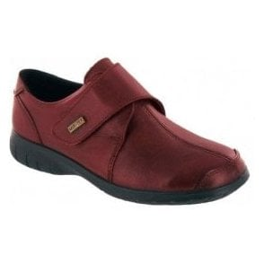 Cranham Red Leather Ladies Velcro Waterproof Shoe