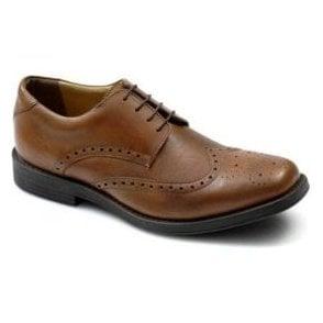 4185 Tan Leather Brogue Lace Shoe