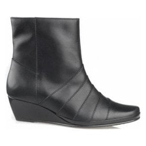 Moss Black Leather Wedge Ankle Boot