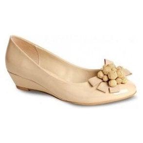 FLV557 Nude / Beige Patent Wedge Shoe