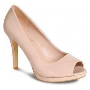 FLV560 Nude Patent Peep Toe Court Shoe