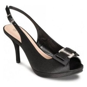 FLR152 Black Satin Shoe with Bow Trim