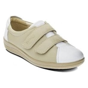 Cosmos White and Beige Leather Velcro Shoe