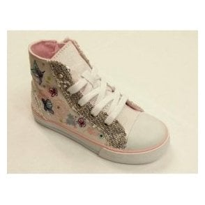 Como Girl's White Canvas Shoe Boot