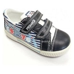 Gabry Navy and White Leather Boys Velcro Shoe