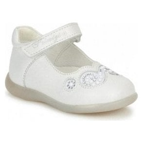 Emilia White Leather Girl's Velcro Shoe