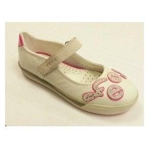 J Carnival B White Leather Girls Shoe