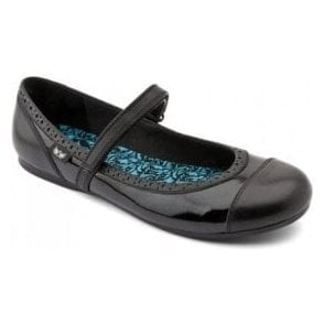 Totally Black Patent Velcro Shoe