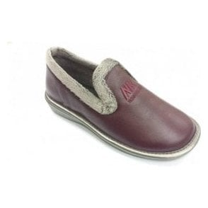 305 Ohio Burgundy Leather Ladies Slipper