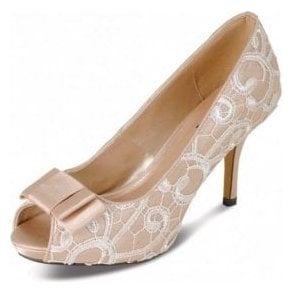 FLR213 Beige Satin Swirl Lace Peep Toe Court Shoe with Bow Trim