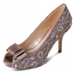 FLR213 Taupe Satin Swirl Lace Peep Toe Court Shoe with Bow Trim