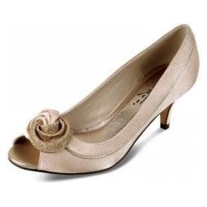 Ripley FLR222 Champagne Satin Lower Heeled Peep Toe Court Shoe