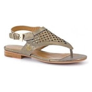 Jana 02 Gold Leather Toe Post Sandal