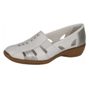 Doris 41385-82 White / Silver Leather Shoe